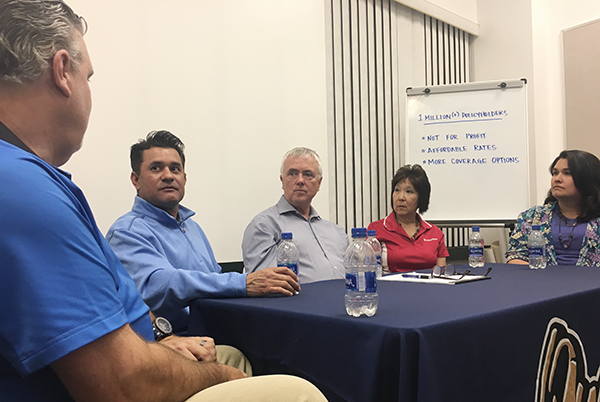 From Left to Right: Tim Cunningham of Ontario, David Fierro of Glendora, CEA CEO Glenn Pomeroy, Teresa Fukui Akahoshi of Rancho Cucamonga, and Veronica Garza of La Verne discuss winning strategies for selling more CEA earthquake insurance policies